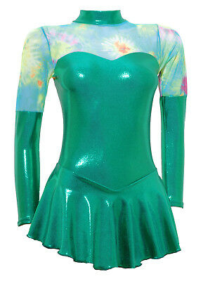 Skating Dress -GREEN SHEEN METALIC/MESH -LONG SLEEVE  ALL SIZES AVAILABLE