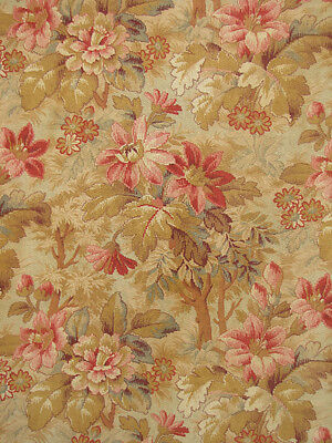 Length THREE antique floral panel fabric material c 1890 ~ lovely design