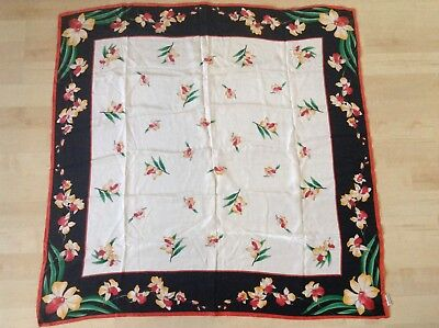 "Vintage Silk Scarf Women's Pure Silk D.K. 34"" Square Floral Thick Black Border"