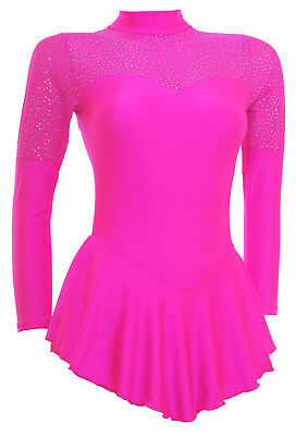 Skating Dress -FLO PINK LYCRA/GLITTER MIST -LONG SLEEVE  ALL SIZES AVAILABLE