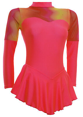 Skating Dress -CORAL LYCRA/MESH -LONG SLEEVE  ALL SIZES AVAILABLE
