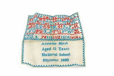 Beautiful Victorian 1880 Hand-Stitched Sewing Sampler Various Stitches