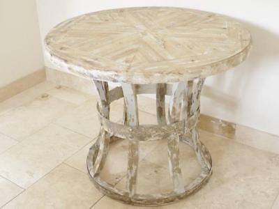 Beautiful French Rustic Large Round Dining Table Wood Farmhouse Shabby Chic