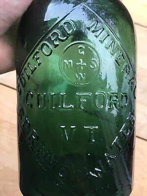 Guildford Vermont Mineral Spring Dark Green Glass Early Saratoga Style Bottle