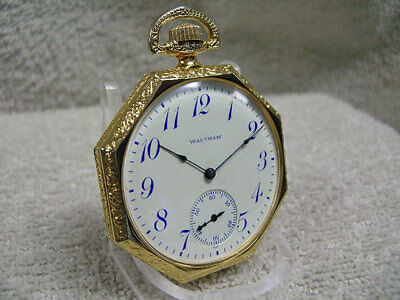 Antique/Vintage Waltham New Old Stock Octagon Fancy pocket watch, runs fine!
