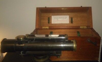 Antique A Abraham & Co SURVEYING LEVEL TOOL In Wooden Case