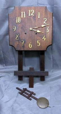 Old Vintage Antique Mission Era Oak Arts & and Crafts Period Wall Clock Pendulum