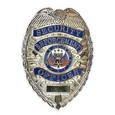 Security Enforcement Officer SILVER Badge Novelty Shield Guard Costume Party