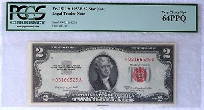 1953-B $2 64-PPQ Star Fr#1511* Two Dollar Bill Legal Tender Note Red Seal US #2