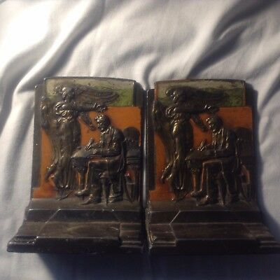 Antique Pair Of The Emancipator Bookends Abraham Lincoln Pompeian Bronze Co.