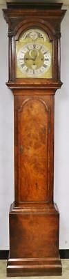 Antique English 3 Weight Musical 8/4 Bell Moonphase Grandfather Longcase Clock