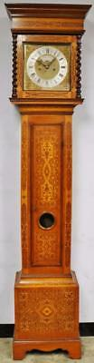 Rare Antique Queen Anne 18thc English Marquetry 8 Day Longcase Grandfather Clock