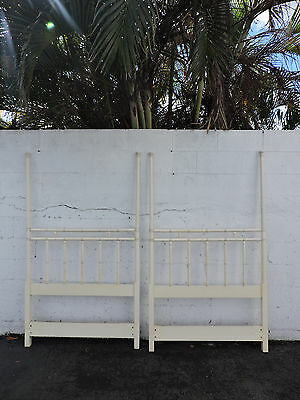 Hollywood Regency Pair of Twin Size Poster Faux Bamboo Headboards by Drexel 8269