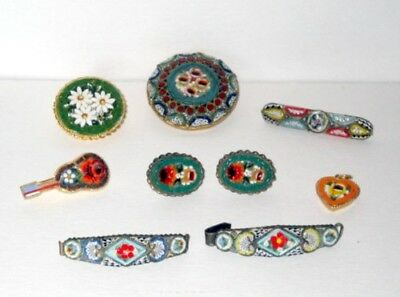 Vintage Micro Mosaic Pins Earring Pendant Misc Lot Of 8 Made In Italy