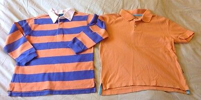 Mini Boden Long Sleeve Boys Striped Polo Shirt & GAP Polo Shirt Age 7-8 Years
