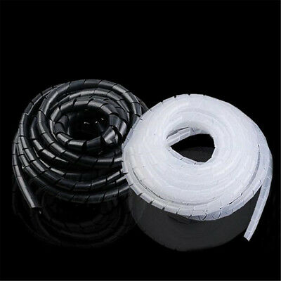4M 6mm Spiral Cable Wrap Tidy Hide Binding Wire Management PC TV Home Office