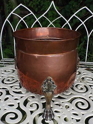 Antique Copper Planter Jardiniere Brass Claw Feet & Lion Head Coal Kindling