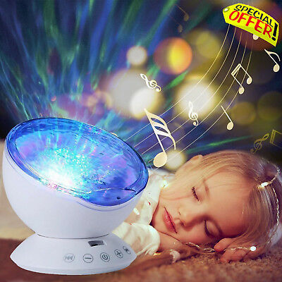 Calming Autism Sensory Toys LED Lights Projector Blue Relax Music Night Sky Wave