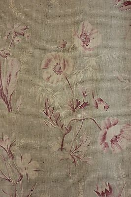 Antique French printed cotton c 1850 faded floral pink design Glazed percale
