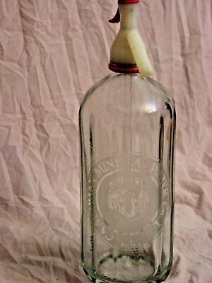 Vintage Seltzer Bottle - Cambrian Mineral Water Bakelite Top, Glass Straw Intact