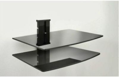Modern Black Temper Glass 2 Tier DVD Wall Shelf-Integrated Cable Concealment