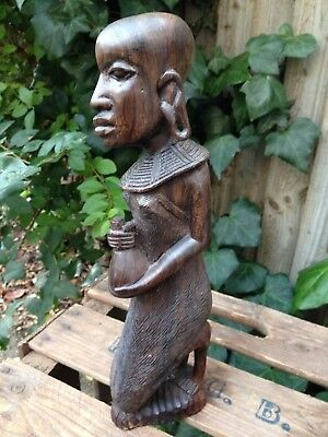 Old Vintage Carved African Masai Lady Figurine Kneeling With Offering