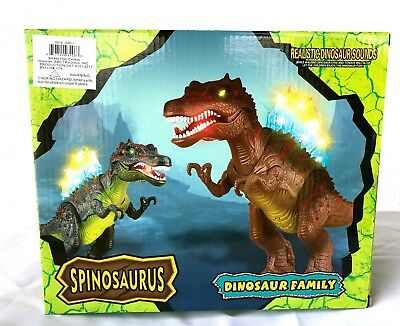 Walking SPINOSAURUS Toy Figure With Lights, Sounds, Real Movement-Brown-NEW