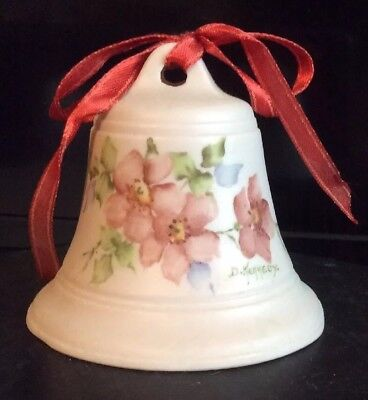 Hand-painted Porcelain Bell Collectible Pink Floral Vintage