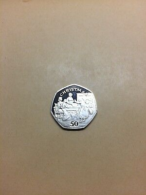 1998 BUNC Isle Of Man Christmas 50p Coin (Fifty Pence Xmas) *Very Rare*
