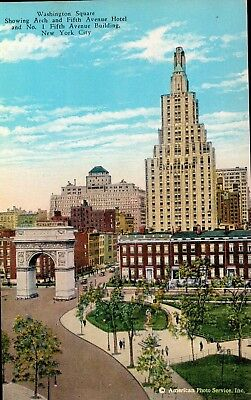 Vintage Postcard Of Washington Square, New York City, NY Long Ago