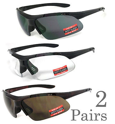 2 Pairs Safety Bifocal Reading Glasses Reading Sunglasses UV Protect AP+S Z87.1+