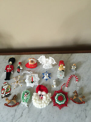 Mixed Lot of 18 Vintage Christmas Ornaments-Wood, Felt, Beaded, Crocheted & More