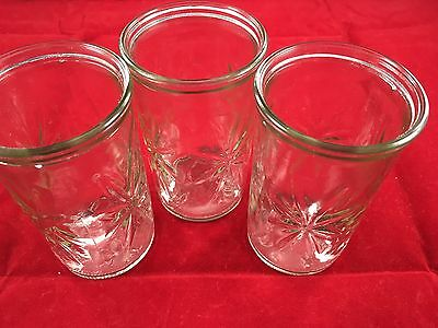 Vintage Lot Clear Glass Cups - 3 Glasses - Starburst Jelly Jars (7410)