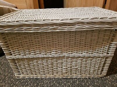 "Antique White Wicker Trunk Chest Wood Bottom Good Cond 26""x16""x17"""