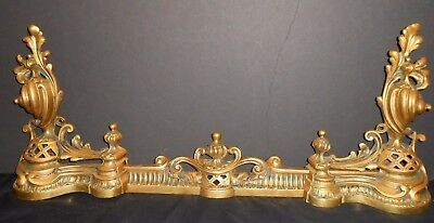 Antique French Rococo Style Brass Chenet Andirons Fender Fireplace Set Signed