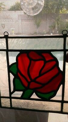 """Square Leaded Stained Glass Sun Catcher Red Rose Bud 10.5"""" X 8"""""""
