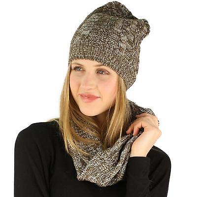 Ladies 2pc Winter Marled Cable Knit Beanie Hat Cowl Infinity Scarf Ski Set Brown