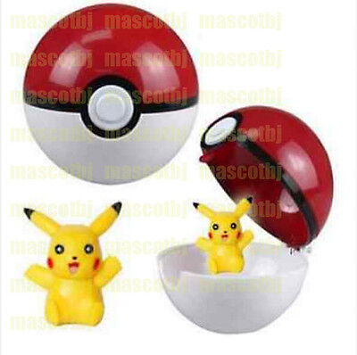 Pokemon Pokeball Pop-up 7cm BALL Toy Action Figure  & Free Pikachu Monster NMD87