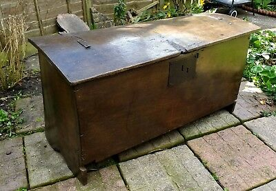 Rare Original Henry VIII English Boarded Oak Chest Coffer Circa 1520