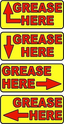 GREASE HERE (ARROW) Label sticker decals - 20 decals per package - Red or Yellow
