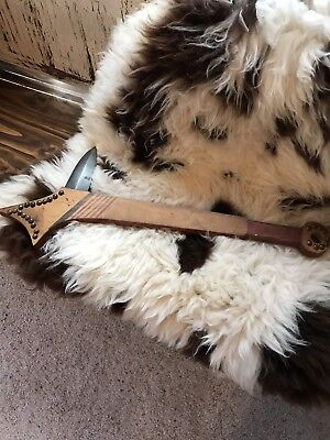 Native American Indian Wooden War Club With Metal Blade