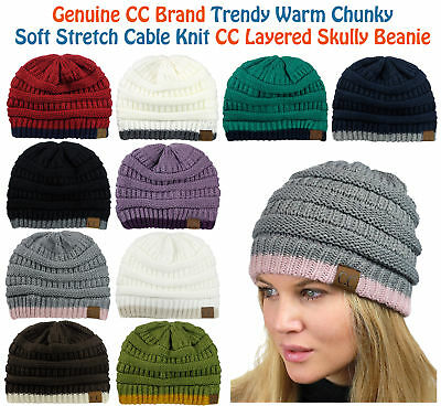 NEW! CC Beanie Trendy Warm Accent Lined Chunky Soft Stretch Cable Knit Beanie