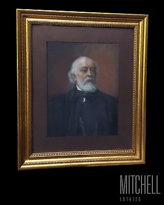 Original Late 19th Century American Antique Chalk, Portrait of a Man - 1894