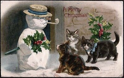 Vintage 1912 Merry Christmas Snowman Cats Kittens Pets Holly Old Litho Postcard