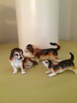 Vintage Collectible Bone China Beagle Dogs w/ Red Paper Tag