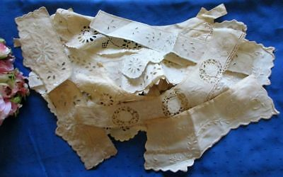 Large Antique Lot Of 12 Embroidered/lace Cotton Collars~Many Hand Worked