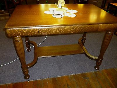 Antique Library Table tiger quartersawn oak drawer refinished 1900's victorian