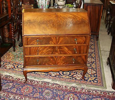 Beautiful English Antique Queen Anne Flamed mahogany Front Drop Desk.