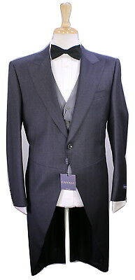 NWT New * CANALI * Charcoal Gray Royal Ascot Morning 3-Pc Wool Tails Suit 38R