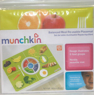 Munchkin Balanced Meal Re-Usable Baby Child Feeding Placemat Set of 2. Brand New
